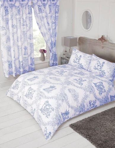 French Country Design Toile De Jouy Bedding Duvet Quilt Cover Set Blue Colour